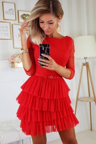 Czerwona sukienka z falbankami | PolskieSzafiarki.pl i